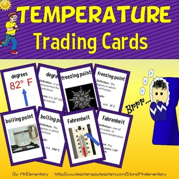 Temperature Vocabulary Trading Cards