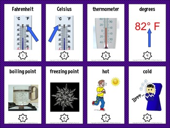Temperature Vocabulary Trading Cards and Word Wall