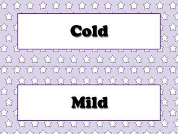 Temperature Vocabulary Strips for Calendar - Superstars Theme