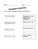 Temperature Vocabulary (goes along with Weather PowerPoint)