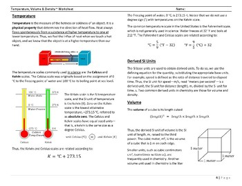 Temperature, Volume and Density ~ Worksheet