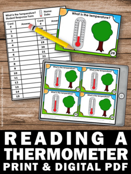 Weather Temperature Task Cards, Reading a Thermometer Fahrenheit & Celsius
