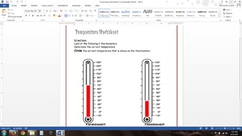 Temperature Worksheet (goes along with Weather PowerPoint)
