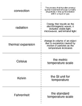 Temperature and Heat Vocabulary Flash Cards for Physical Science