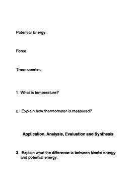 Temperature and Kinetic Energy Common Core Reading and Writing Activities i