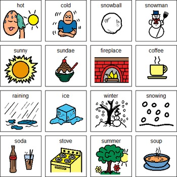 Temperature: hot and cold sort-special education