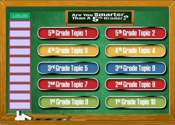 Are you smarter than a 5th grader powerpoint template for Deal or no deal powerpoint game template