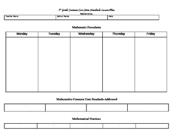 Template - Common Core State Standards Lesson Plan for Mathematics