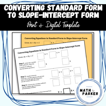 Template - Converting Standard Form to Slope-Intercept Form