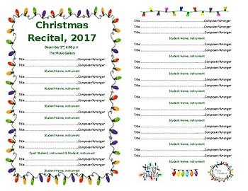 Template - Half Sheet Holiday Lights for Concert/Recital