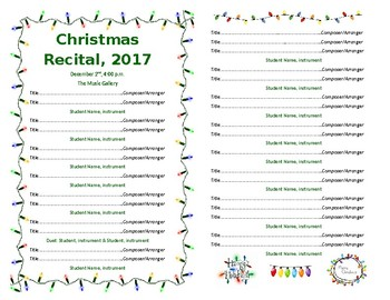 Template - Half Sheet Holiday Lights for Concert/Recital VERSION 2
