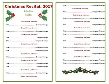 Template - Half Sheet Program for Holiday Recital/Concert - Holly Berries