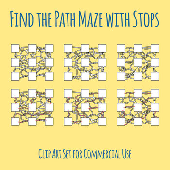 Template Mazes - Find the Path with Stops Along the Way Clip Art Commercial Use