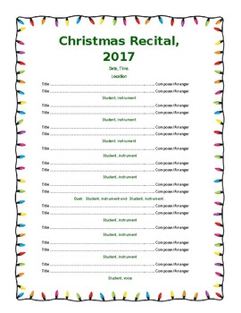 Template - Program for Concert/Recital 2 page VERSION 2