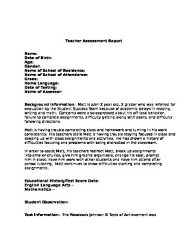 Template Teacher Report for Woodcock Johnson III (IEP Teachers)