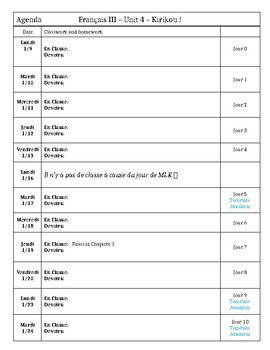 Template: Unit Agenda/planner for students