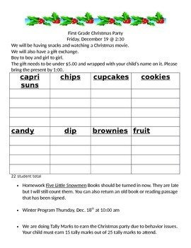 Template for Christmas Party (or winter party) note to parents