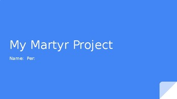 Template for Civil Rights Movement Martyr Research Powerpoint