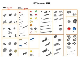 Template for Completing Inventory on LEGO NXT #9797 Kit