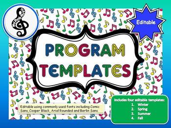 MUSIC Program Template: 4 seasonal designs for any performance (downloadFREEBIE)