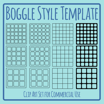 Template for Games Similar to Boggle Clip Art Set for Commercial Use