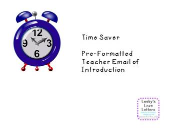 Time Saver Template for Teacher Initial Contact for the School Year