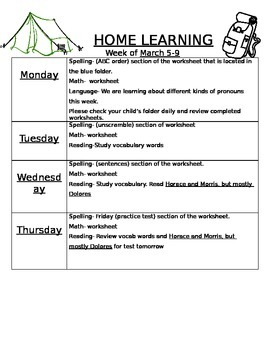 Template for Weekly Homework