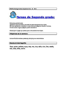 Template for Weekly homework in Spanish