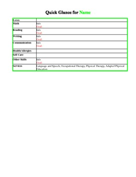 Template for Writing IEP Quick Glances to Share IEP Information