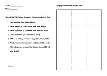 Template for designing your own terracotta warrior (suitable for 3-6 grades)