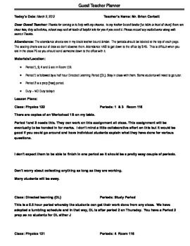 Template for making up a quick description/lesson plan for a substitute teacher