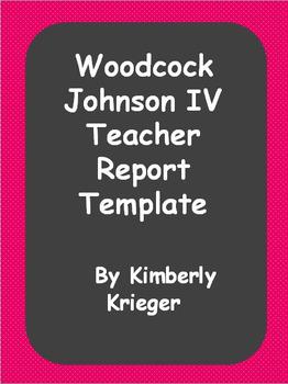 Template teacher assessment report Woodcock Johnson IV