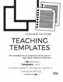 Templates For Teachers.  Resource Book. Organizers. Printables. ESL. ELA. EFL.