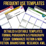 Templates - Research - Paragraph - Essay - Venn Diagram - Summarize -  EDITABLE