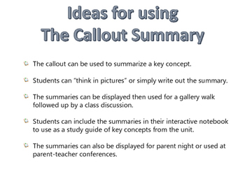 Templates and Ideas for Summarizing!