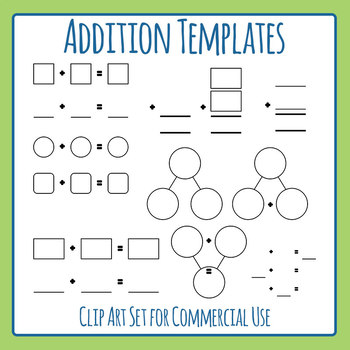 Templates for Addition Math Blank Clip Art Set for Commercial Use