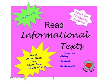 Templates for Informational Texts with Answer Key