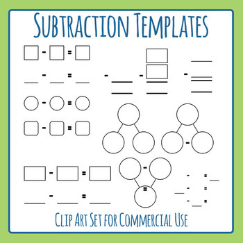 Templates for Subtraction Math Blank Clip Art Set for Comm