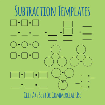 Templates for Subtraction Math Blank Clip Art Set for Commercial Use