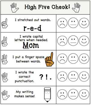 Templates for Writing With High Five Assessment Checklist