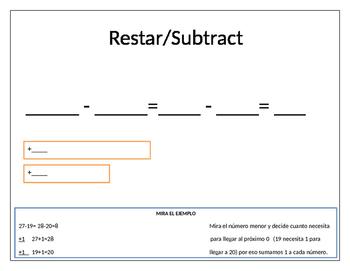 Templates for addition and subtraction //Palntillas para sumas y restas
