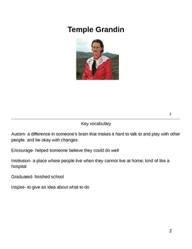 Temple Grandin Biography, Differentiated for Special Education