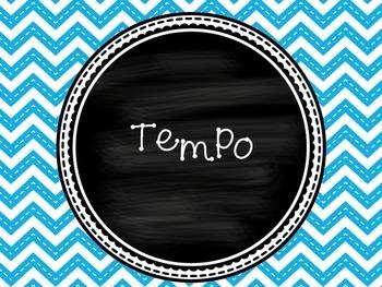 Tempo Blue Chevron Classroom Posters!