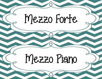 Music Tempo & Dynamics Word Wall Cards Chevron