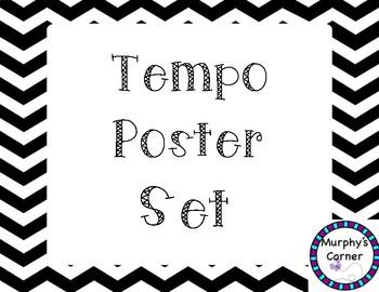 Tempo Poster Set - Chevron and Zoo Animals Design