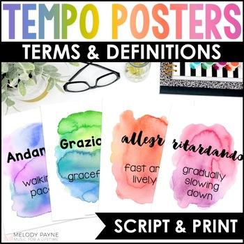 Tempo Posters {34 Tempo Terms: Watercolor Music Decor}