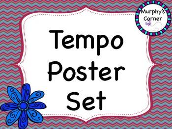 Tempo Posters- Floral Chevron Design