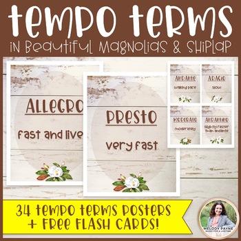 Tempo Posters Plus FREE Flash Cards {Magnolia Music Class Decor}