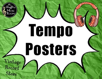 Tempo Posters {Vintage Record Store} Rainbow Glitter