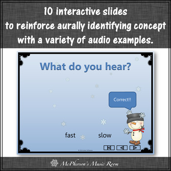 Tempo Snowman - Interactive Music Game (fast or slow) and Assessment